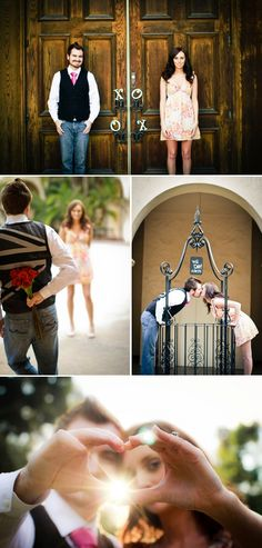 these are cute poses... especially the one on the gate and the hands making a heart!
