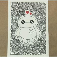 Baymax 😍 art en 2019 doodle art, drawings y art sketches. Cute Disney Drawings, Kawaii Drawings, Doodle Drawings, Easy Drawings, Doodle Art, Tangle Doodle, Mandala Art, Mandala Drawing, Dibujos Zentangle Art