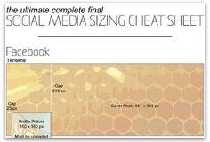 Chuleta de tamaños de fotos en diversas Redes Sociales via Ragan