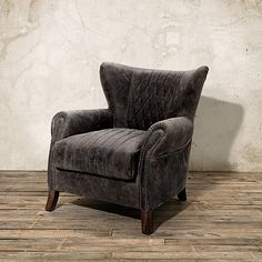 "Roadster 34"" Leather Chair in Storm Slate"