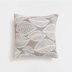 Raised leaves print natural colour linen cushion cover