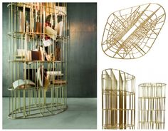 Golden Cage bookcase by Ceccotti Collezioni. Available at Showroom MOOD.