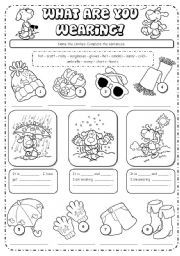 English teaching worksheets: What are you wearing?