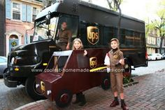 Homemade UPS Delivery Person and Truck Costume: We receive so many UPS parcels!! My daughter really likes our UPS driver and receiving packages are always exciting. When asking her what she would
