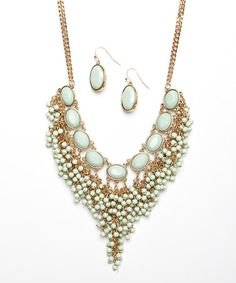 Love this Gold & Mint Pointed Bib Necklace & Earrings Set on #zulily! #zulilyfinds  $27.99