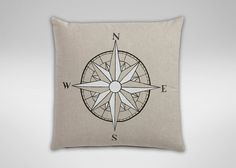 Hand-Painted Compass Rose Pillow