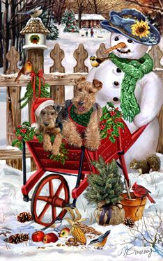 "New for 2013! Welsh Terrier Christmas Holiday Cards are 8 1/2"" x 5 1/2"" and come in packages of 12 cards. One design per package. All designs include envelopes, your personal message, and choice of greeting. Select the inside greeting of your choice from the menu below.Add your custom personal message to the Comments box during checkout."