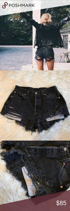 Furst of a kind distressed vintage Levi's shorts Loooovvvve these just don't wear them enough ☹️ no size but they fit like a 2/3 LF Shorts Jean Shorts