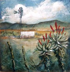 Landscape by Kareni Bester African Art Paintings, Paintings I Love, Landscape Art, Landscape Paintings, Landscapes, Protea Art, Canvas Painting Projects, South African Art, Small Art
