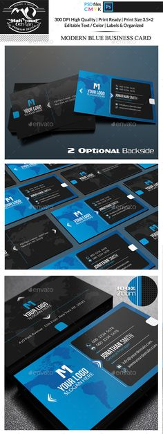 Modern Blue Business Card - Corporate Business Card Template PSD. Download here: http://graphicriver.net/item/modern-blue-business-card/11931086?s_rank=1767&ref=yinkira