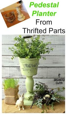 When it pertains to décor, especially outdoors it's simple to make it classically comfy with Adirondack furniture. Vintage Thrift Stores, Thrift Store Crafts, Recycled Decor, Repurposed Items, Recycled Crafts, Pot Plante, Plantation, Pedestal, Decoration