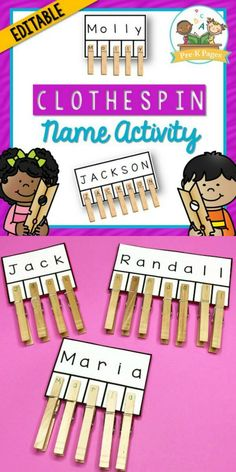 This clothespin name activity will help you quickly and easily create a customized name activity for each child in your class. Help your students learn how to recognize the letters in their names and practice fine motor skills at the same time! Name Activities Preschool, Name Writing Activities, Cutting Activities, Fine Motor Activities For Kids, Nursery Activities, Preschool Writing, Motor Skills Activities, Preschool Learning Activities, Preschool Activities