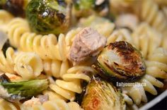 Roasted Brussels sprouts and salmon pasta with a white wine cream cheese sauce recipe Gf Recipes, Home Recipes, Pasta Recipes, Free Gf, Gluten Free, Cream Cheese Sauce, Salmon Pasta, Wine Sauce, Saute Onions