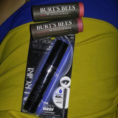 Cover girl and Burts Bees Cover girl STAR WARS LIMITED EDITION WATERPROOF Very Black Mascara and 2 Beautiful shades of Hurts Bees Tinted Lip Balm STILL SEALED! The colors are Rose and Red Dahlia Covergirl and Burts Bee's Makeup