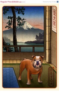 ON SALE Bulldog Japanese Styled Print by ChetArt on Etsy, $14.40