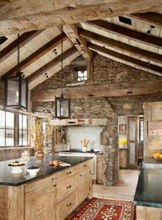 I love the rustic look of a wood and stone kitchen. I love the rustic look of a wood and stone kitchen. Rustic Kitchen Design, Kitchen Decor, Kitchen Ideas, Kitchen Wood, Country Kitchen, Rustic House Design, Cabin Design, Barn Kitchen, Kitchen Walls