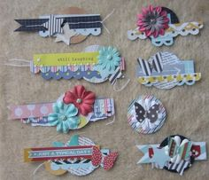 Make a simple embellishment by layering a small strip of paper, ribbon, 2…
