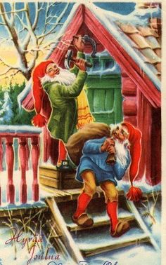 Gnome Stallion Trainers Groy Rogers and Gene Autreyson, hammer up the Horseshoe symbol on opening day at their Stampede Ranch on Fjord Range. Christmas Knomes, Baumgarten, Old Fashioned Christmas, Christmas Deco, Christmas Greeting Cards, Christmas Pictures, Gnomes, Decoupage, Illustration Art