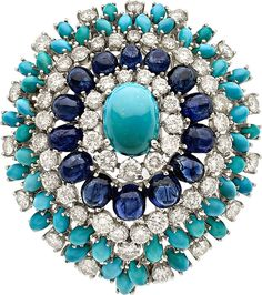 Diamond, Sapphire, Turquoise, White Gold Brooch, French. ...