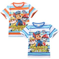 Free-Shipping-Paw-Patrol-Stripe-Kids-Boys-Girls-Short-Sleeve-Tops-T-Shirt-3-7Y **************************************** eBay: חולצת טי מכותנה של הסדרה האהובה מפרץ ההרפתקאות מ-22 ₪ + משלוח חינם! גיל 3-7