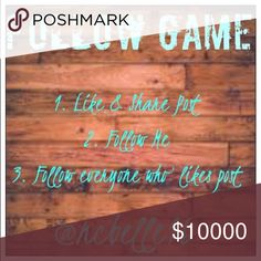 GOAL 10K, THEN SALE TO CELEBRATE My very first follow game, 1. Like & share post 2. Follow me 3. Follow everyone else that likes this post. Watch your followers grow and as we all know more followers means more sales. Let's support our fellow posh closets this holiday season! 💕 Other