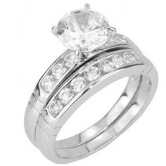 1.9 Carat Round CZ Cubic Zirconia 925 Sterling Silver Women's Wedding/Engagement Ring Set available at joyfulcrown.com