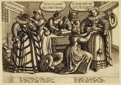Women--masks and bustles. Maaerten de Vos. engrav. Antwerp ca. 1600. Met. Mus. | Note the masks... at least one is NOT dark.
