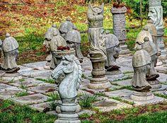 Stone Lawn Chess Set