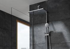 New shower columns featuring advanced materials that include thermostatic mixer, multifunction handshower and a big showerhead available in round and rectangular versions.