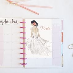 Planner dashboard Black hair/Light skin BRIDE. Erin Condren, Recollections, Happy Planner, Personal, A5 by MoxieFoxShop on Etsy