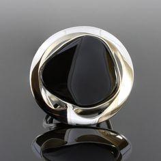Noir Onyx bague bague ambre de la Baltique noir par AmberStoneRing