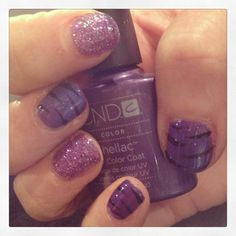 Fabulous CND Shellac creative nails with Purple Purple glitter rockstar nails and nail art by #JaneBellissimo