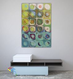Interior Design Focal Art Inspiration-Circles and Squares 54. Textured Green Oils. Original limited edition signed canvas & paper giclees by internationally collected artist Mark Lawrence