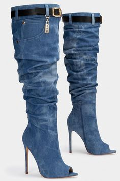 Boots are actually trendy and there is wide option from flat-heels to stilettos, wedges, and platforms, boots are whatever in between. Denim Heels, Denim Boots, Jeans Denim, Jeans And Boots, Thigh High Boots, High Heel Boots, Knee Boots, Heeled Boots, Bootie Boots