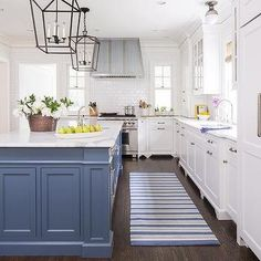 Blue Kitchen Island With Blue Striped Runner   Https://www.decorpad.