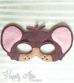 Dormouse Mask ITH Embroidery Design Felt Mask Embroidery Designs