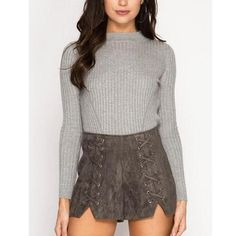 Grey Faux Suede Notched Laced Up Shorts