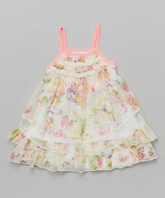 Look at this #zulilyfind! Ivory Floral Lace Trim Ruched Dress - Infant, Toddler & Girls #zulilyfinds