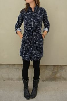 FWK Navy Polka Dot Flannel BD Shirt Dress
