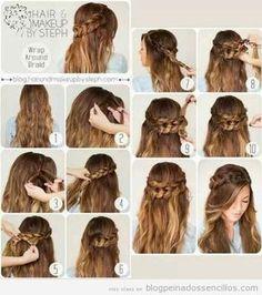 peinados con trenzas y pelo suelto para adolescentes paso a paso