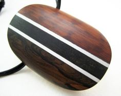 Handmade, Carved, Wood Pendant with Aluminum Accents (Exotic Oval)