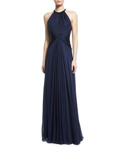 Beaded-Neck Sleeveless Flowy Silk Gown