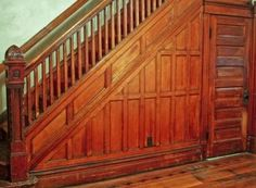paneled wooden stair