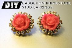 DIY Prada-Inspired Rose Cabochon Rhinestone Stud Earrings DIY Jewelry DIY Earrings