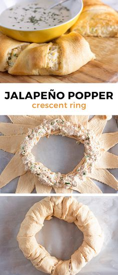 Jalapeño Popper Crescent Ring Creamy chicken and jalapeños-. Jalapeño Popper Crescent Ring Creamy chicken and jalapeños- This recipe is so Game Day Appetizers, Game Day Snacks, Finger Food Appetizers, Snacks Für Party, Game Day Food, Appetizer Recipes, Simple Appetizers, Vegetarian Appetizers, Parties Food