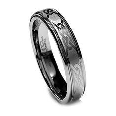 5mm Women's Tungsten Ring Wedding Band Celtic Design Ring Step High Polish New | eBay