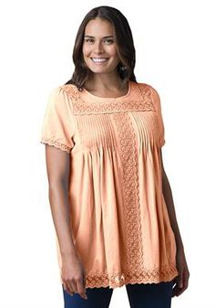 Top, tunic length in soft jersey fabric with lace trim | Plus Size Tunics | Woman Within