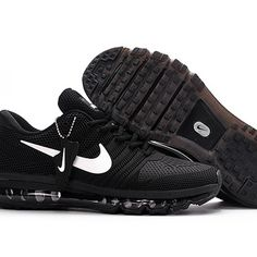 check out 197fd f14b3 Nike Air Max 2017 Men Black White Logo Running Shoes