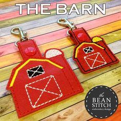 Barn - Includes TWO sizes! BONUS MULTIs included!!! The bean stitch, bean stitches, machine embroidery design, ITH, in the hoop, free designs, free font, mini font, embroidery, download, embroidery design, gift idea, DIY, Christmas, holiday, halloween, geek, nerd, star wars, dr who, mouse, kam snaps, snaps, glitter vinyl, marine vinyl, snap beans, snap tabs, key fob, bag tag, farmer, farm, tractor, deere, embroidery boy, embroidery birthday, barn, farm
