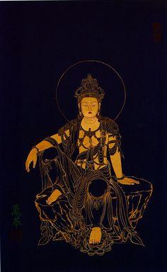 Buddhist Art, Avaloktesvara, painting by Korean buddhist monk, Manbong